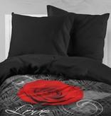 Nightlife Bettwäsche Rose Mit Barok Schwarz und Rot - DE - 160x200 - 70x90 (2) mit Reissverschluss
