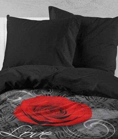 Nightlife Rose Mit Barok Schwarz und Rot - DE - 160x200 - 70x90 (2) mit Reissverschluss