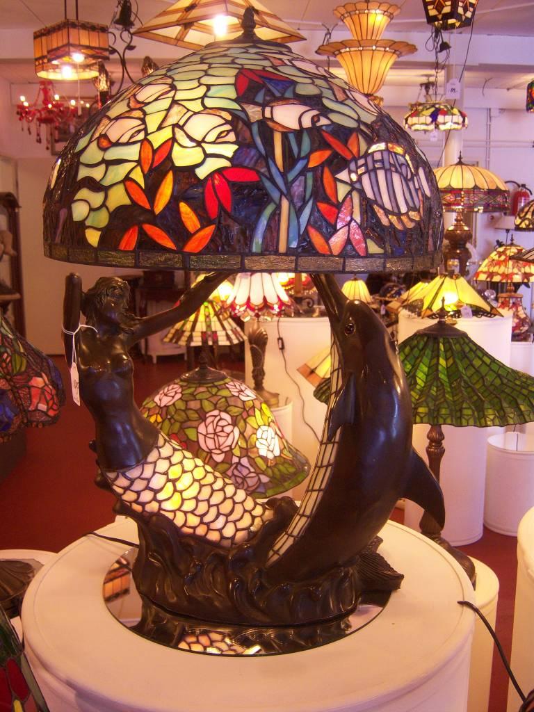 RoMaLux 5271 Tiffany lamp met Bronzen Dolfijn