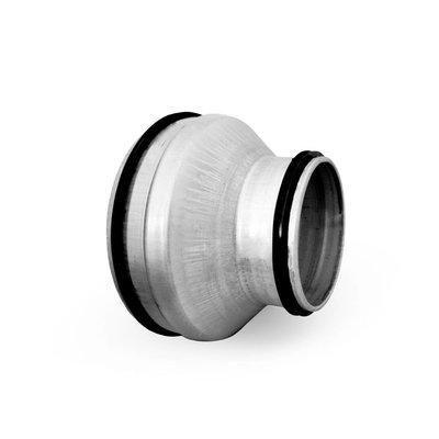 Reductie mannelijk ø180 naar ø100 met rubbere dichting voor luchtkanalen
