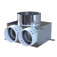 Ventielcollector 2 x ø75mm met rechstreeks aansluiting voor ventiel ø160 mm