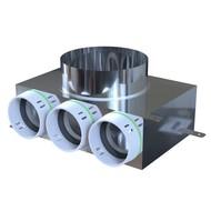 Ventielcollector 3 x ø75mm met rechstreeks aansluiting voor ventiel ø125 mm