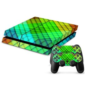 PS4 Skins Console - Neon Green Check