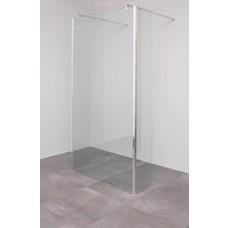 Sanitairstunthal Vrijstaande inloopdouche 100 x 200 cm + 2 vaste hoek segmenten 30 cm diep 8 mm helder veiligheidsglas