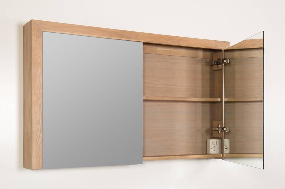 spiegelkast natural wood 100 cm breed met 2 deuren inclusief ...