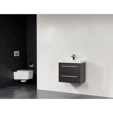 Sanitairstunthal xxs badmeubel 80 x 38 cm kunstmarmer wastafel met 1 kraangat in de kleur black wood