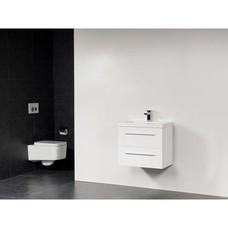 Sanitairstunthal xxs badmeubel 80 x 38 cm kunstmarmer wastafel met 1 kraangat in de kleur glans wit