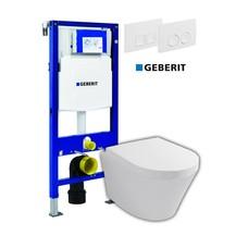Sanitairstunthal Complete toiletset Designo met Geberit reservoir met drukplaat en softclose / quick release toiletzitting