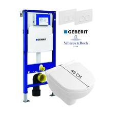 Villeroy en Boch Complete toiletset verkort model met Geberit reservoir met drukplaat en softclose / quick release toiletzitting
