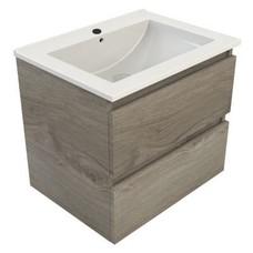 Sanitairstunthal Just wastafelonderkast 60x46 cm.2x lade met keramische wastafel zilver eiken