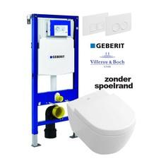 Villeroy en Boch Toiletset zonder spoelrand Subway 2.0 met Geberit reservoir drukplaat en softclose / quick release toiletzitting