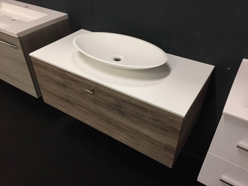 Kleine Waskom Toilet : Thebalux badmeubel cm breed met solid surface waskom inclusief