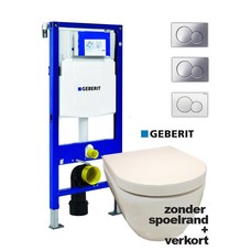 Sanitairstunthal verkorte en spoelrandloze set met Geberit UP320 reservoir met drukplaat en softclose / quick release toiletzitting