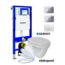 Sanitairstunthal Complete vlakspoel toiletset met Geberit UP320 reservoir met drukplaat en softclose / quick release toiletzitting