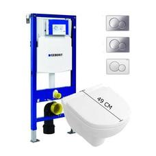 Villeroy en Boch hangend spoelrand loos toilet met Geberit UP320 reservoir en Sigma bedieningsplaat