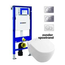 Villeroy en Boch hangend toilet met Geberit UP320 reservoir en Sigma bedieningsplaat