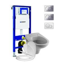 Sphinx hangend toilet met Geberit UP320 reservoir en Sigma bedieningsplaat