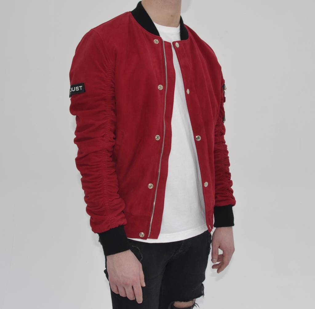 Red Suede Bomber