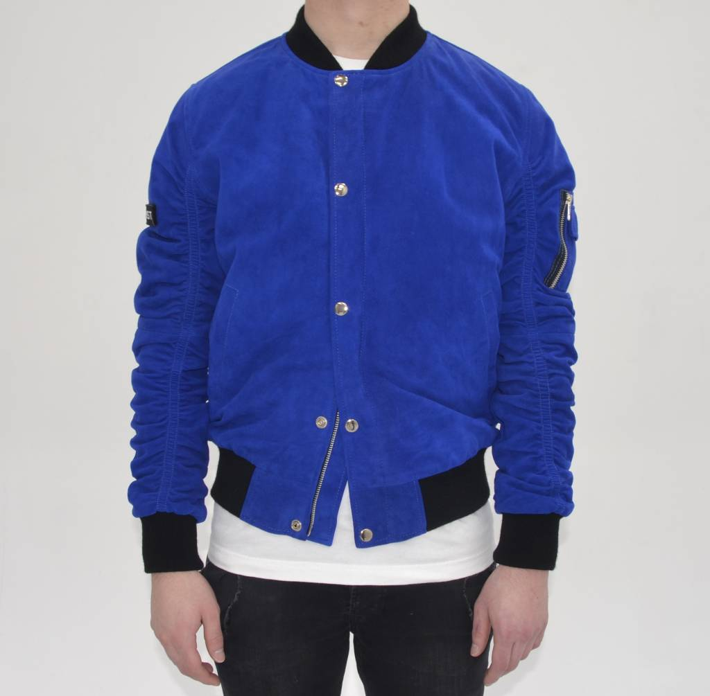 Royal Blue Suede Bomber