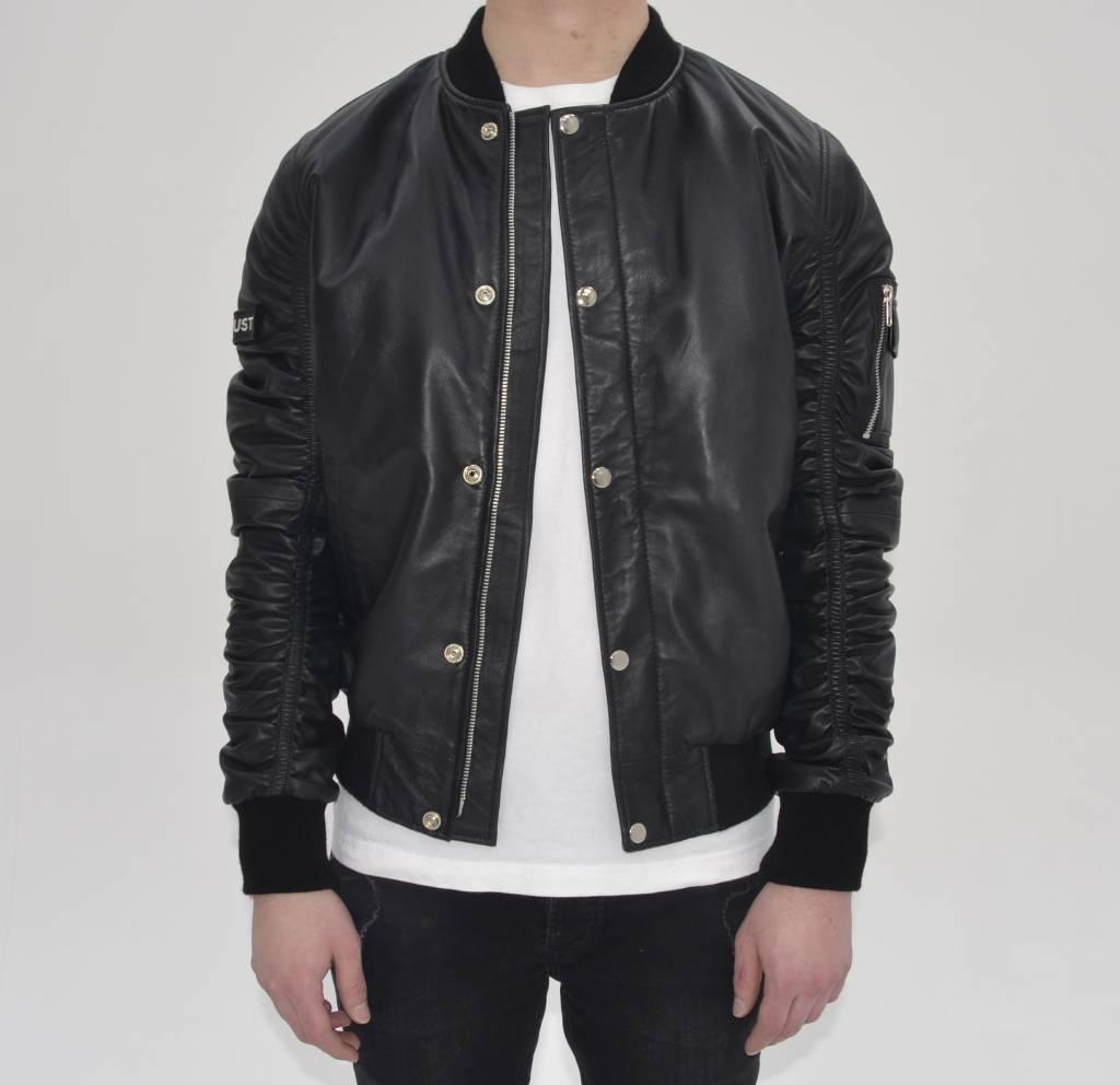 Black Leather Bomber