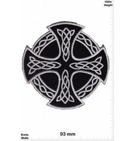 Celtic Kelten Kreuz - silber schwarz - silber schwarz - rund -