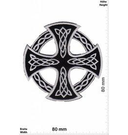 Celtic Celtic Cross - silver black - round