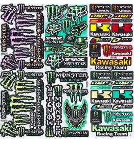 F4 Bögen 6 Aufkleberbögen (F4) Monster Energy -  Kawasaki  MIX 2  -