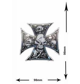 #Mix Kreuz - Totenkopf - Skull - 2 Stück  - Metalleffekt -