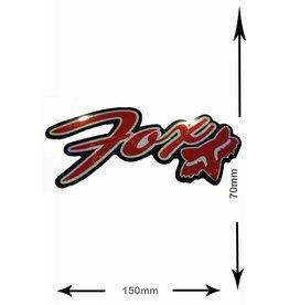 Fox FOX - Schrift mit Kopf - font with Head - 2 Stück  - schwarz - rot - black- red - Glitzereffekt -