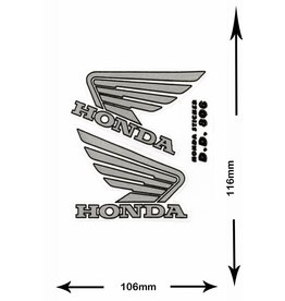 Honda HONDA - 2  Bögen insgesamt 4 Aufkleber - BIG - silber - silver -