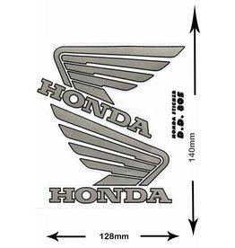 Honda HONDA - 2  Bögen insgesamt 4 Aufkleber -  silber -