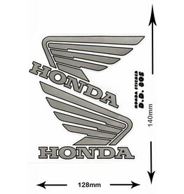 Honda HONDA - 2 sheets with complet 4 Stickers -  silver -