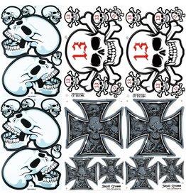 F4 Bögen 6 Aufkleberbögen (F4)  Totenkopf - Skull  MIX 1 -