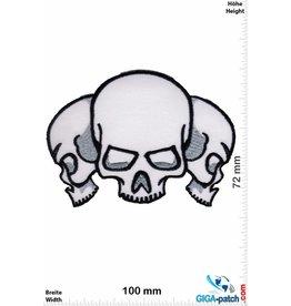 Totenkopf 3 Totenköpfe - Skull - weiss