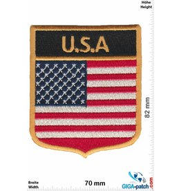 USA U.S.A .  Wappenpatch USA - Flaggen - schwarz