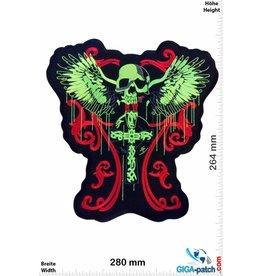 Biker Totenkopf -Kreuz - Engelsflügel -  28 cm - BIG