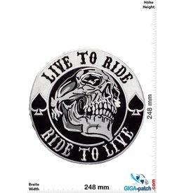 Biker Live to Ride - Ride to Live - Totenkopf - Skull -  25 cm - BIG