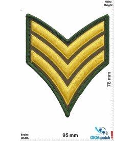 Sergant Sergeant Abzeichen 3 Streifen - gold  grün