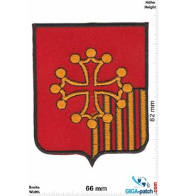 Historical  Kreuz - 5 Balken - gold rot