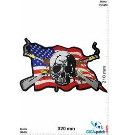 Cowboy Skull - Totenkopf USA Flag - Musketen  - 32 cm