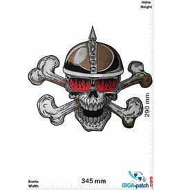 Cafe Racer Totenkopf Helm - Cafe Racer  - 2 Bones- 34 cm