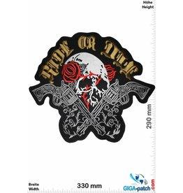 Biker Ride or Die - Skull with rose and revolver - 33 cm - BIG