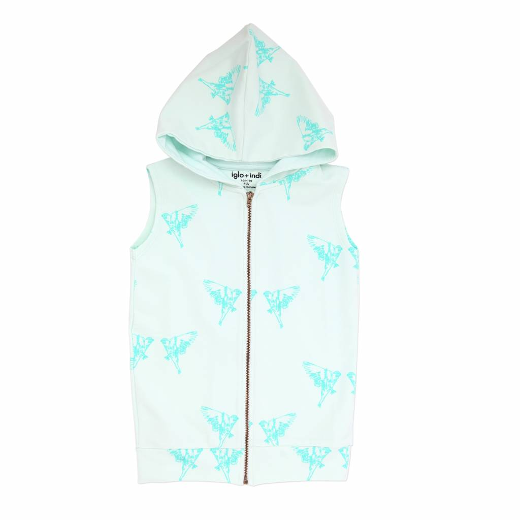 Iglo+Indi Aqua Bird hooded vest