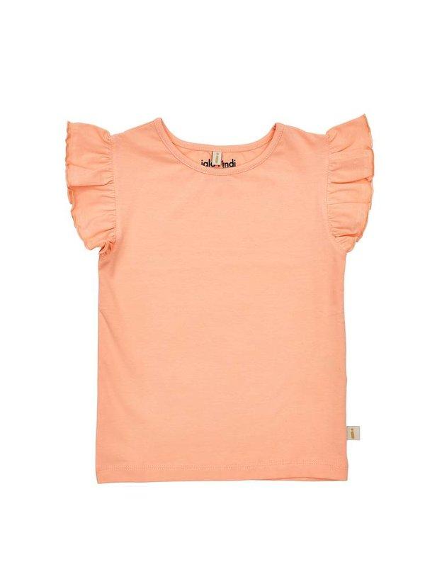 Peach ruffle sleeve top