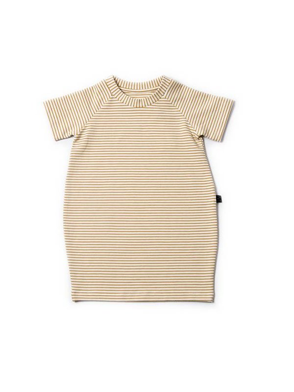 LAATSTE MAAT 5/6Y Ochre Stripe T-shirt Dress