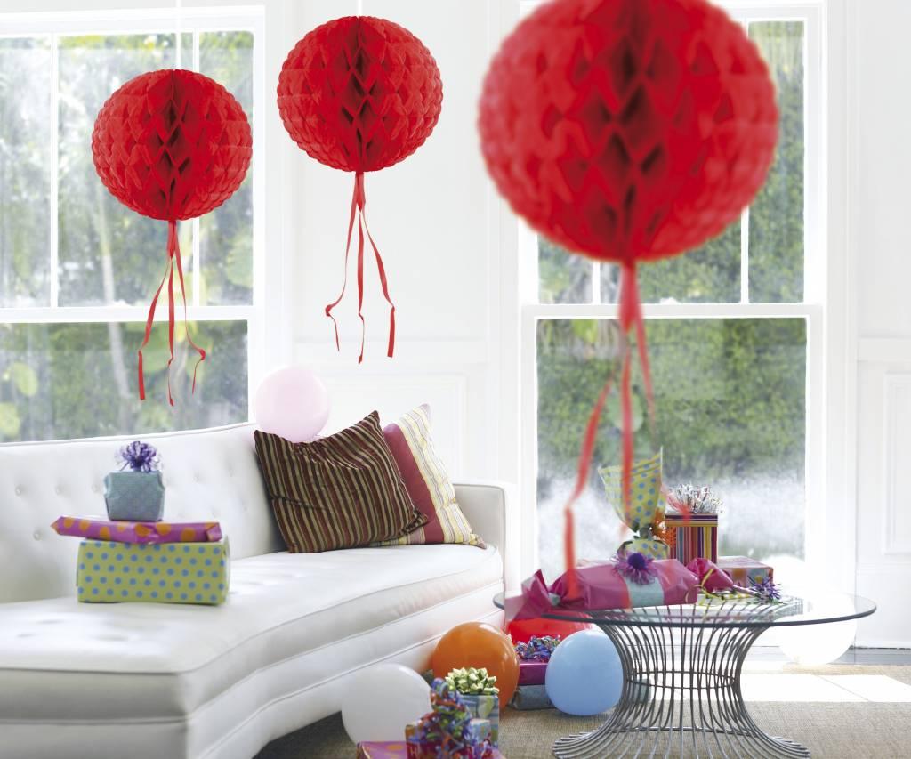 Feestfestijn Honeycomb rond Rood - 30cm