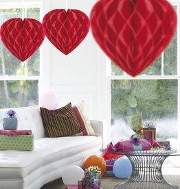 Feestfestijn Honeycomb hart Rood