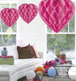Feestfestijn Honeycomb hart Roze