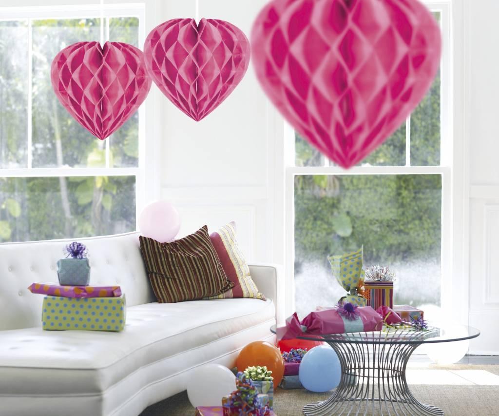 Feestfestijn Honeycomb hart Roze - 30cm