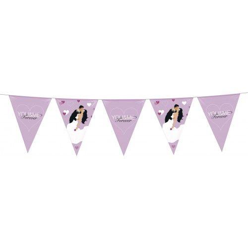 Feestfestijn Vlaggenlijn Just Married 6 meter Roze